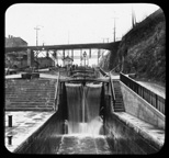 View of Lock 67 in a series of stairstep locks on the Erie Canal at Lockport, N.Y.
