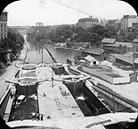 View from a bridge of the Erie Canal locks at Lockport, N.Y.