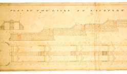 Drawing of locks built on the Erie Canal at Lockport, N.Y.