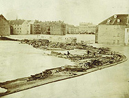 Erie Canal Aqueduct during flood of 1865