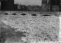 Ice jam in the Genesee River at the Erie Canal Aqueduct