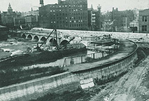 Subway construction at Aqueduct, 1922