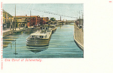 Erie Canal at Schenectady with canal boat