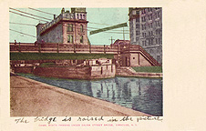 Canal Boats passing under Salina Street Bridge, Syracuse, N.Y.