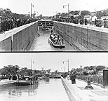 Opening of the Barge Canal at Lock No. 2: Governor's Boat in Lock.