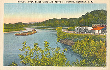 Mohawk River, Barge Canal and Route 5S Highway, Herkimer, N.Y.