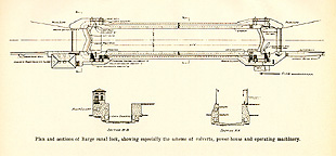 Plan and sections of Barge canal lock
