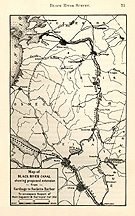 Map of Black River Canal showing proposed extension from Carthage                 to Sacketts Harbor