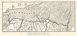 A map of the country traversed by the Erie Canal