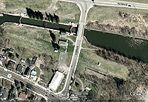 Google Earth view of  Erie Canal Lock No. 28-B and Lock No. 59 at Newark
