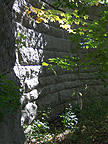 The northeast buttress wall, seen from the stream level